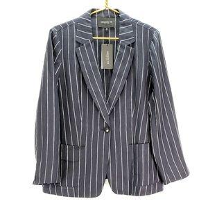New York Alba Womens Linen Striped Jacket